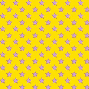 Large Light Purple stars on Dark Yellow Background