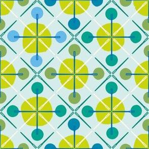 Crosses & Dots (green + blue)