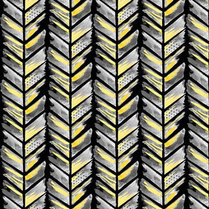 Watercolor Feather Chevron in Black and Gold