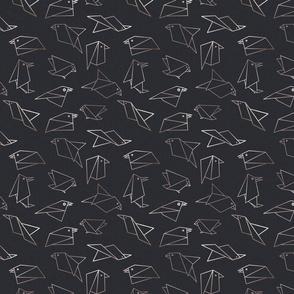 origami birds paynes grey xs