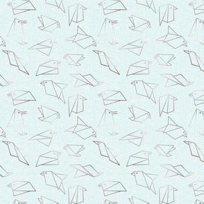 origami birds baby blue