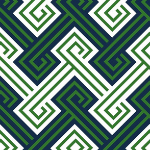 Athena Greek Key in Preppy Navy and Green