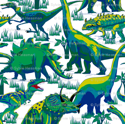 Blue and Green Dinosaurs.