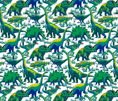Blue and Green Dinosaurs. fabric by art_on_fabric on Spoonflower - custom fabric