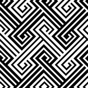 Athena Greek Key in Black and White