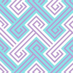 Athena Greek Key in Aqua and Purple