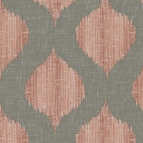 Lela Ikat in Warm Gray and Coral