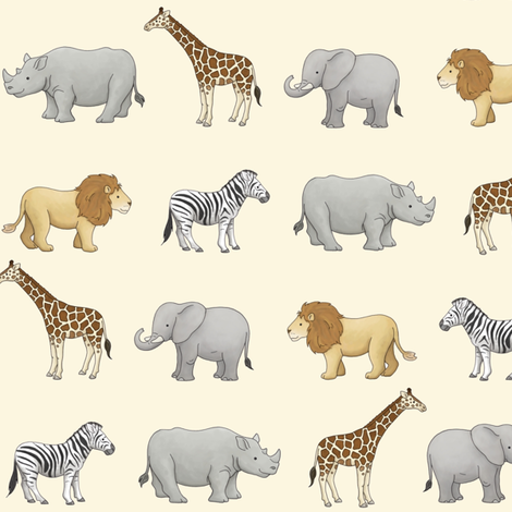 Safari Animals fabric by hazel_fisher_creations on Spoonflower - custom fabric