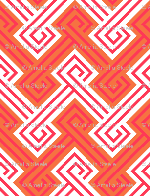 Athena Greek Key in Tangerine and Pink