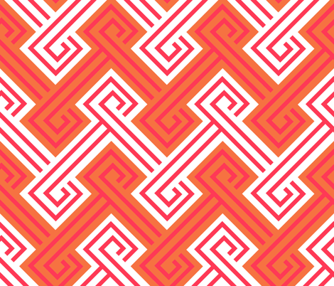Athena Greek Key in Tangerine and Pink fabric by willowlanetextiles on Spoonflower - custom fabric