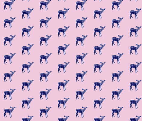 DearDeer Navy on Pink fabric by thistleandfox on Spoonflower - custom fabric
