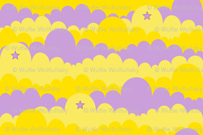 Clouds in Purple and Yellow with Purple Stars
