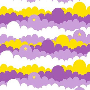 Purple Princess Clouds  with Yellow Clouds and Yellow Stars