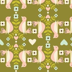 Striped Birds - Olive