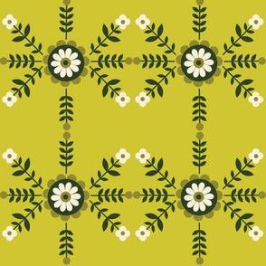 Striped Flowers - Green