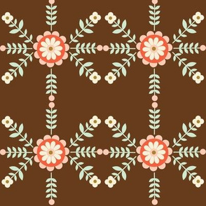 Striped Flowers - Brown