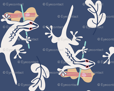 cream gecko violin on navy