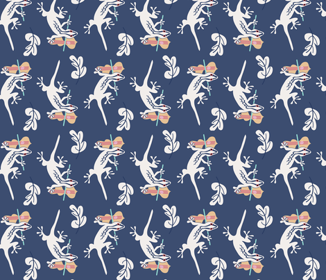 cream gecko violin on navy fabric by space_tempo_design on Spoonflower - custom fabric