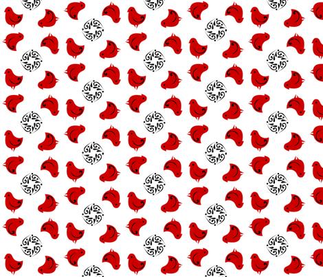 little_red_birdies_2 fabric by glimmericks on Spoonflower - custom fabric