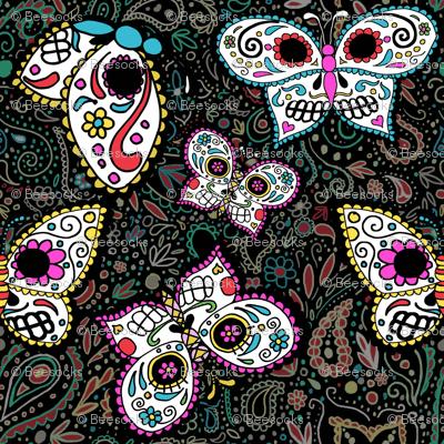 tiny butterfly sugar skulls printed fabric