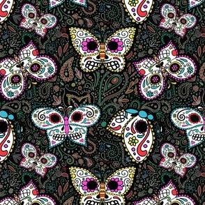 tiny butterfly sugar skulls printed fabric