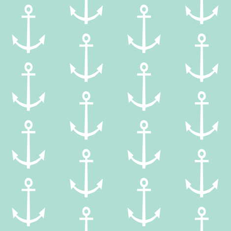 mint anchor fabric by charlottewinter on Spoonflower - custom fabric