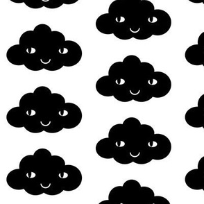 happy cloud black white