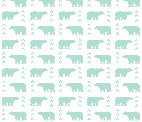 mint bear chevron fabric by charlottewinter on Spoonflower - custom fabric