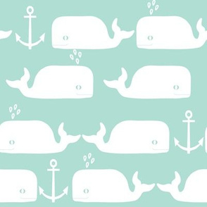 whales anchor mint white cute animal minimal monochrome design for baby swedish leggings cute design anchor baby whale animal nursery fabric