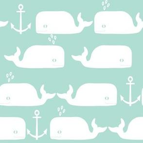 whales anchor mint white cute animal minimal monochrome design for baby swedish leggings cute design anchor baby whale animal nursery fabric