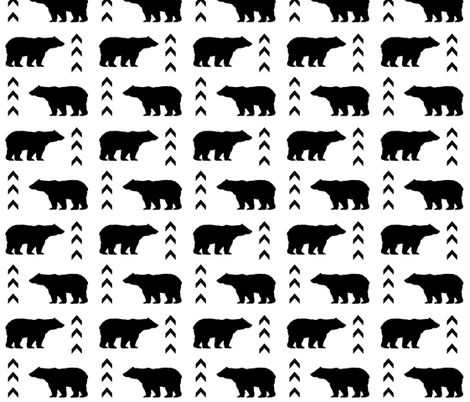bear black and white fabric by charlottewinter on Spoonflower - custom fabric