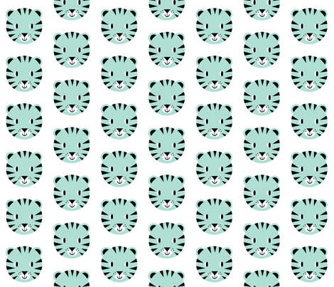 tiger face mint happy design for kids trendy minimal swedish design nursery fabric by charlottewinter on Spoonflower - custom fabric