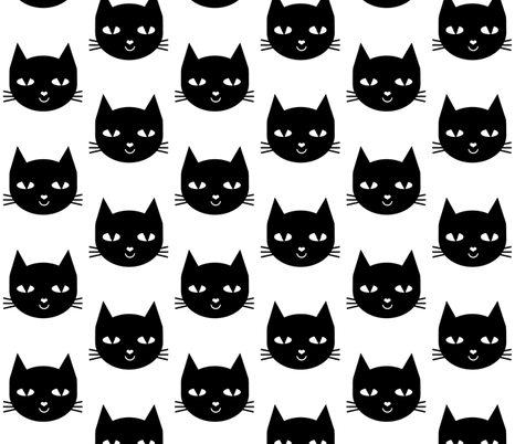 cat black fabric by charlottewinter on Spoonflower - custom fabric