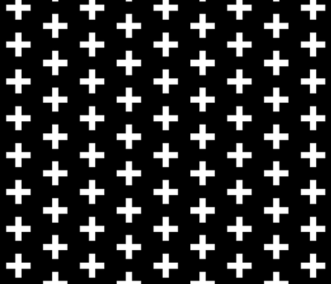 black and white cross plus fabric by charlottewinter on Spoonflower - custom fabric