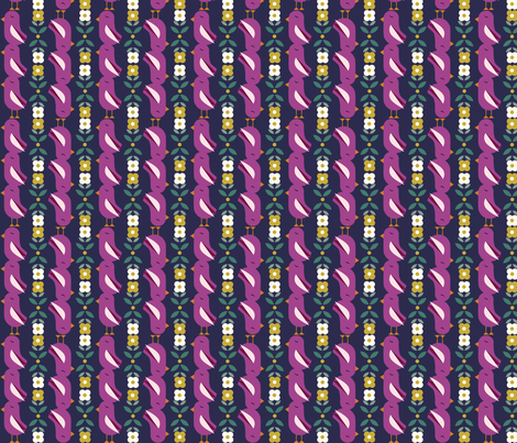 Striped Birds - Blue fabric by oliveandruby on Spoonflower - custom fabric