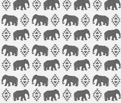 elephant grey charcoal linen on white fabric by charlottewinter on Spoonflower - custom fabric
