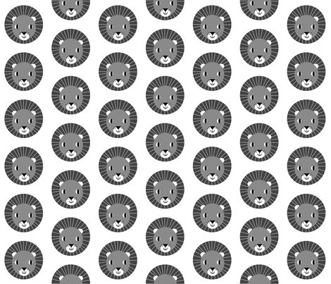 lion kids charcoal minimal monochrome kids design for fun nursery fabric by charlottewinter on Spoonflower - custom fabric