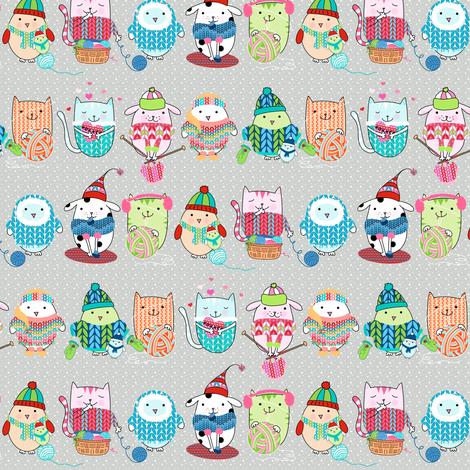 Itty Bitty knitting committee - smaller fabric by designed_by_debby on Spoonflower - custom fabric