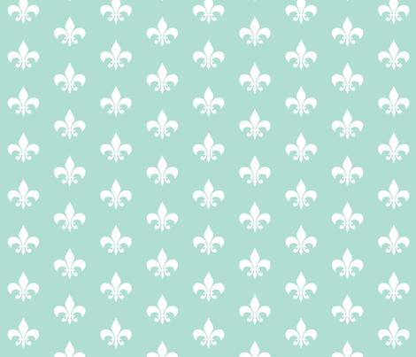 mint white fleur de lis fabric by charlottewinter on Spoonflower - custom fabric