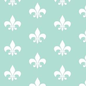 mint white fleur de lis