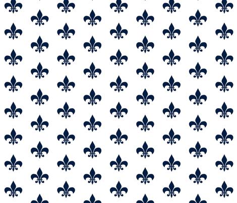 navy fleur de lis fabric by charlottewinter on Spoonflower - custom fabric