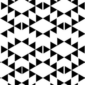 white and black aztec triangles