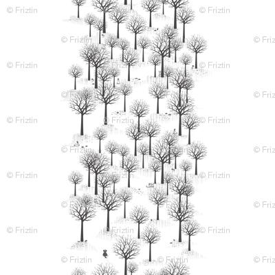 Winter Forest - Bunnies & Hound by Friztin