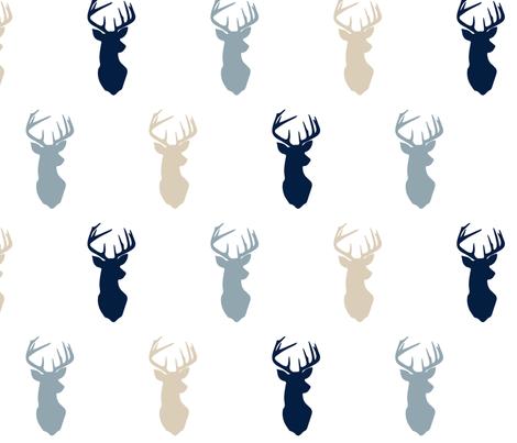 multi buck head blue // rustic woods collection fabric by littlearrowdesign on Spoonflower - custom fabric