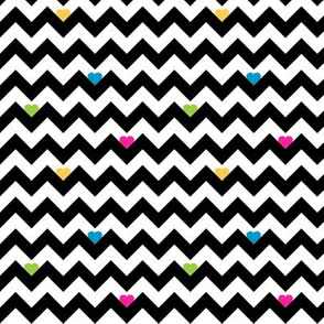 heart & chevron - black/multi - mini