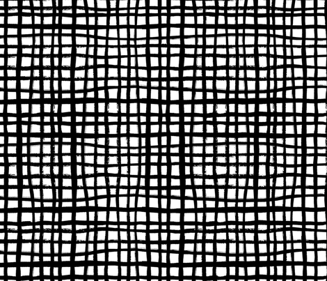 grid - black and white design scandi minimal design fabric by charlottewinter on Spoonflower - custom fabric
