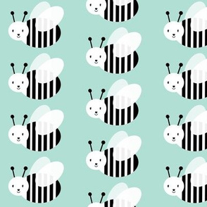 bumble bee mint cute kids room pastel animal design modern swedish cute pattern