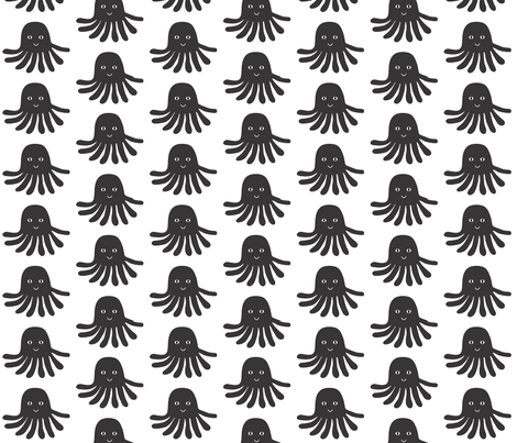 jellyfish black and white minimal monochrome ocean design in modern swedish style fabric by charlottewinter on Spoonflower - custom fabric