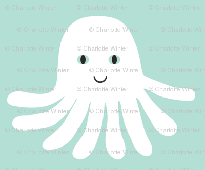 jellyfish happy design cute ocean creature in swedish pastel mint design