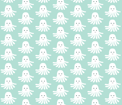 jellyfish happy design cute ocean creature in swedish pastel mint design fabric by charlottewinter on Spoonflower - custom fabric